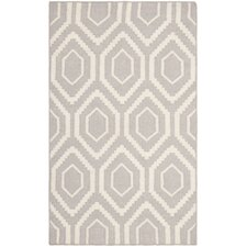 Handgewebter Teppich Dhurrie in Grau