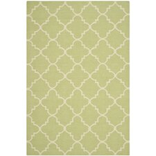 Dhurrie Hand-Woven Light Green/Ivory Area Rug
