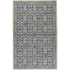 Handgetufteter Teppich Palmer in Navyblau/Elfenbein