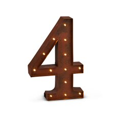 Lighted Metal Number ''4'' Wall Light