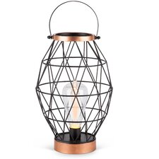 """Oblong Metal Caged Outdoor 23.23"""" Table Lamp"""