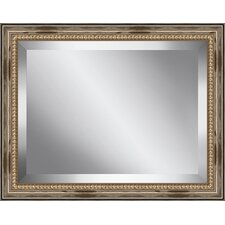 Rectangle Distressed Antique Beaded Framed Beveled Plate Glass Mirror