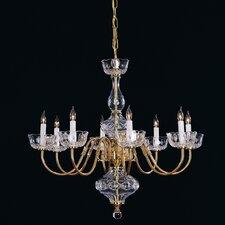 Colonial 8 Light Brass Chandelier