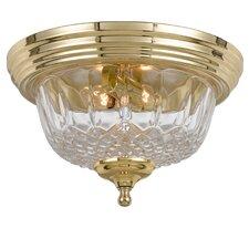 Historical Brass Lead Crystal 2 Light Flush Mount