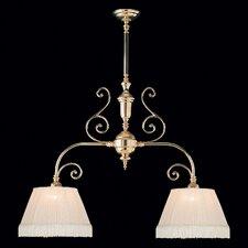 Birmingham 2 Light Kitchen Island Pendant / Billiard Light with Fabric Shade in Polished Brass