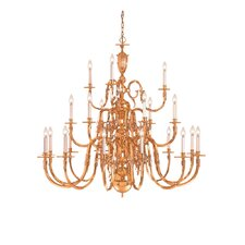 "Williamsburg 60"" 21 Light Chandelier in Polished Brass"