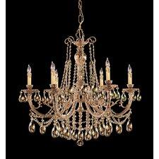Etta 6 Light Golden Teak Crystal Chandelier