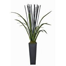 Natural Bamboo and Faux Cymbidium Foliage Floor Plant in Planter
