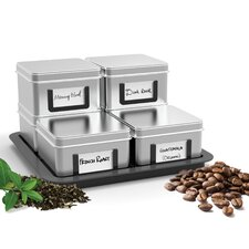 Stax 7 Piece Loose Leaf Tea/Coffee Canister Set with Tray