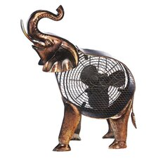 African Elephant Figurine Table Fan