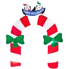 Airblown Candy Cane Archway with Penguin Christmas Decoration
