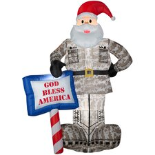 Airblown Inflatables Military Santa with God Bless America Sign