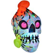 Light Show Skull with Spiders - Kaleidoscope Halloween Decoration