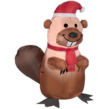 Airblown Inflatables Christmas Holiday Beaver with Santa Hat and Scarf Decoration