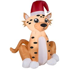 Airblown Inflatables Christmas Cheetah with Santa Hat Decoration