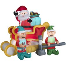 Airblown Inflatables Christmas Animated Santa With Sleigh Decoration