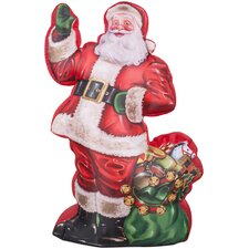 Airblown Inflatables Christmas Photorealistic Illustrated Santa Decoration with Gift Bag