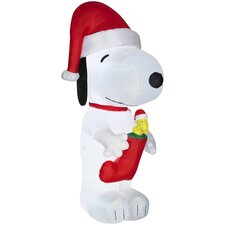Airblown Inflatables Snoopy with Woodstock in Stocking-Giant-Peanuts