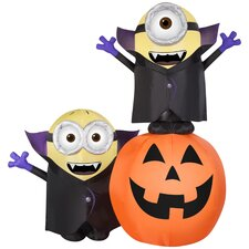 Airblown Inflatables Gone Batty Minions with Pumpkin Scene