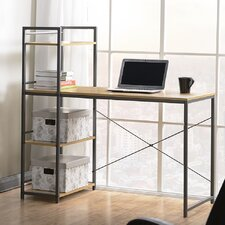 Desk with Built-In 4 Shelf Bookcase