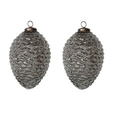 Mercury Glass Pinecone in Silver (Set of 2)