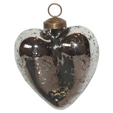 Mercury Glass Heart Ornament (Set of 4)