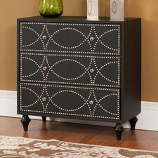 3 Drawer Chest with Silver Nail-Head Trim