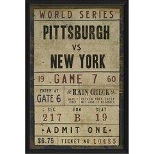 Pittsburgh vs New York Ticket Framed Textual Art