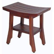 Satori Solid Teak Shower Bench with Shelf Adjustable Height Foot Pad
