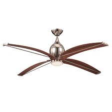 "60"" Tyrod 4 Blade Ceiling Fan with Wall Remote"