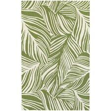 Atrium Tropical Leaf Green & Ivory Indoor/Outdoor Area Rug