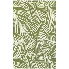 Atrium Tropical Leaf Green & Ivory Indoor/Outdoor Area Rug