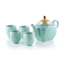 Golden Carp 5 Piece Porcelain Tea Set