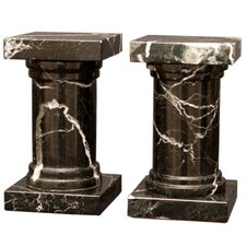 Black and Zebra Marble Platanus Book Ends (Set of 2)