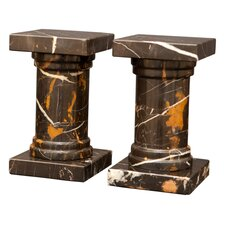 Black and Gold Marble Platanus Book Ends (Set of 2)