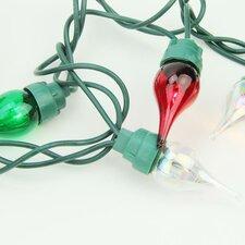 50 Light Twinkle Flame Tip Glass Bulb C5 Mini Christmas Light String