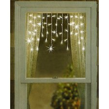 Twinkling & Shimmering Clear Window Curtain Icicle Light String
