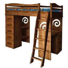Natural Twin Loft Bed with Storage