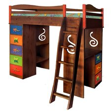 Little Lizards Twin Loft Bed with Storage