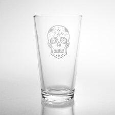 Sugar Skull Pint 16 Oz. Glass (Set of 4)