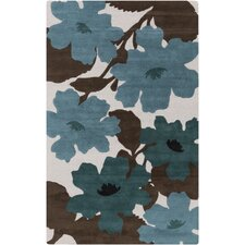 Organic Modern Chocolate/Teal Floral Area Rug
