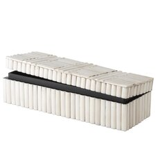 Rod Pattern Rectangular Box in White