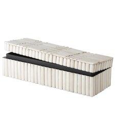 Rod Pattern Rectangular Box in White