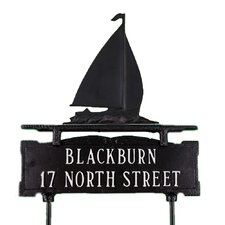 Two Line Lawn Address Sign with Sailboat