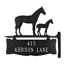 Two Line Post Address Sign with Mare and Colt