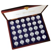 30 Years of US Mint Half Dollars Each Struck of .900 Fine Silver Display Box