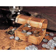 Historic Wooden 50 Old U.S. Coins Treasure Chest