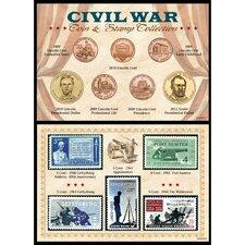 Civil War Coin and Stamp Framed Memorabilia
