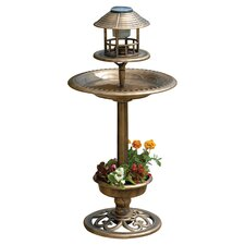 Bird Bath & Feeder with Solar Light and Planter