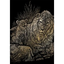Lion and Cubs Art Engraving (Set of 2)